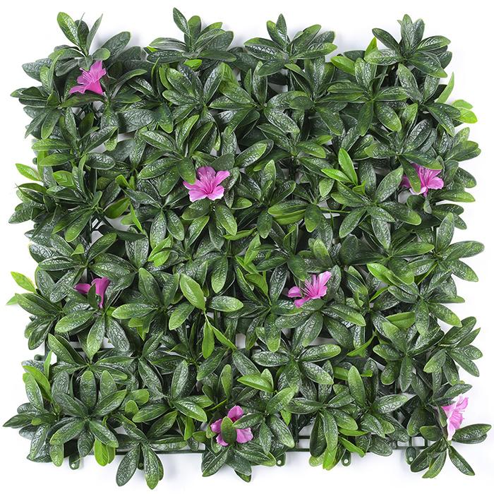 杜鹃叶带红花植物墙厂家_人造草坪草墙背景墙装饰