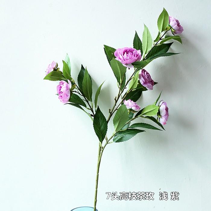 7头高枝茶玫_仿真玫瑰花