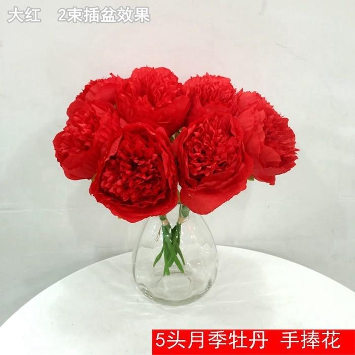 5头月季牡丹_仿真牡丹花厂家直销