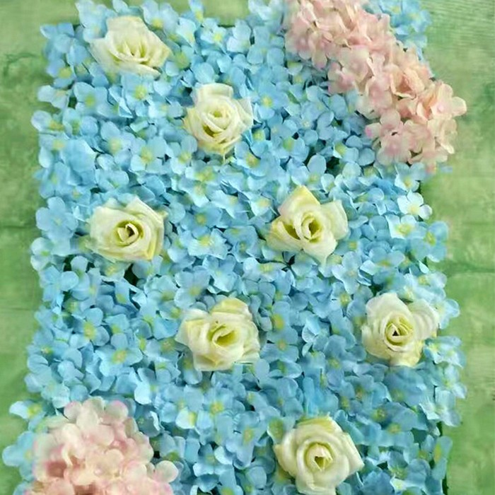 彩虹玫瑰绣球花墙_网格地板花墙婚礼背景墙_渐变色颜色搭配图