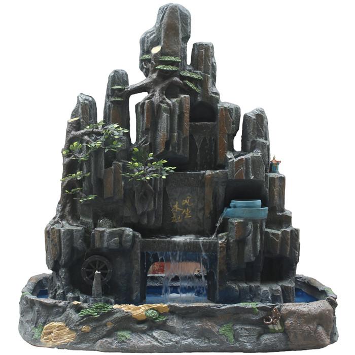室内假山流水喷泉_小型假山盆景制作_假山鱼池