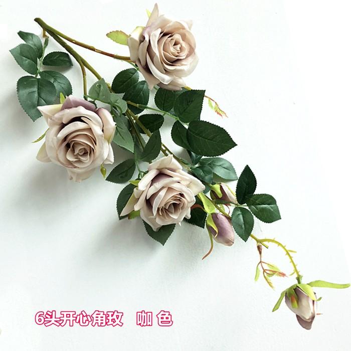 6头开心角玫_仿真玫瑰花厂家直销