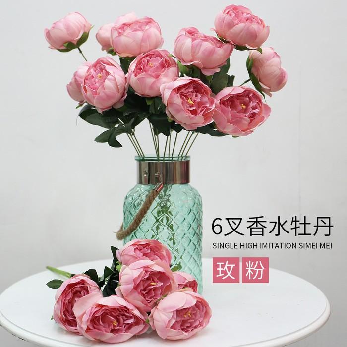 仿真牡丹花厂家直销_6叉香水牡丹_仿真牡丹花批发
