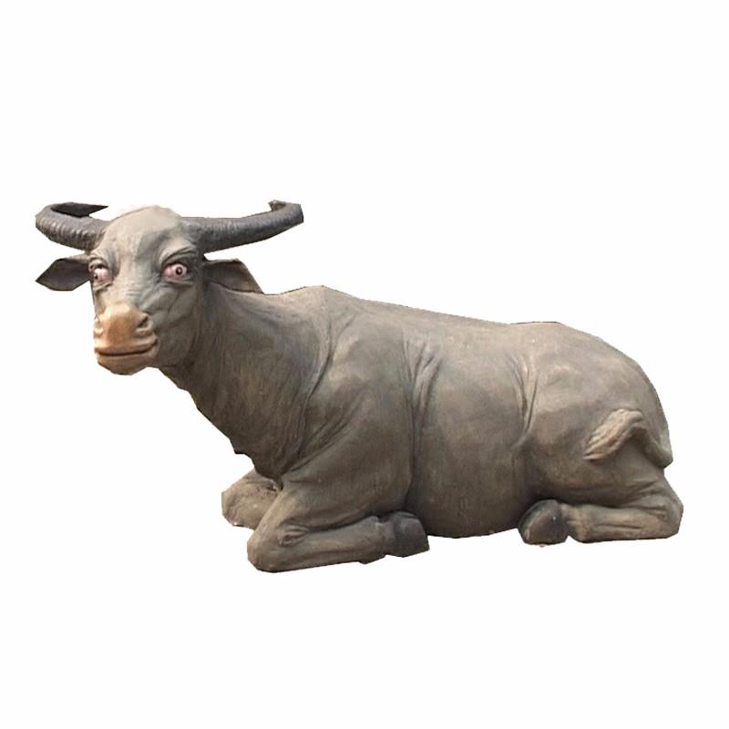 仿真动物厂家 卧牛雕塑_玻璃钢仿真动物雕塑_仿真动物模型批发