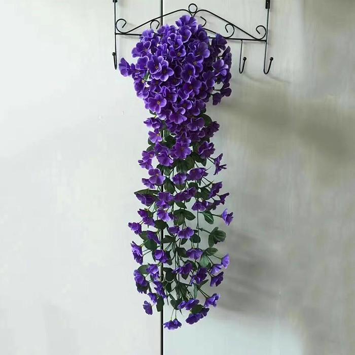 18叉大紫罗兰_壁挂吊兰_仿真壁挂紫罗兰花