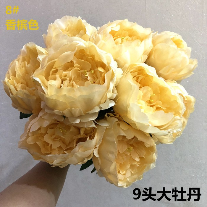 仿真牡丹花批发_9头帝王牡丹花支_假牡丹花厂家直销