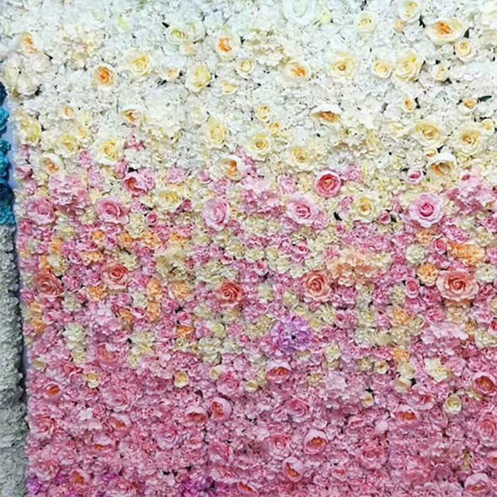 渐变色花墙混合花墙批发_婚礼背景墙_仿真花墙效果图