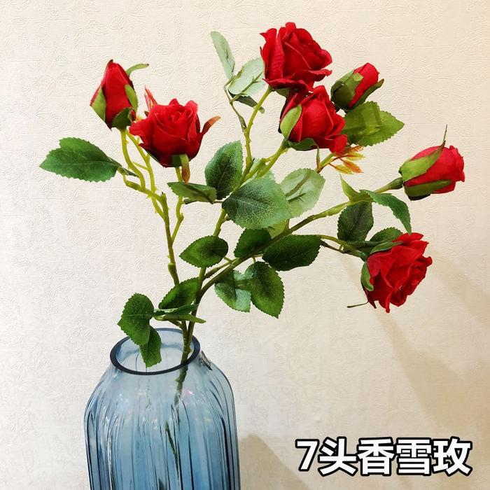 7头香雪玫_仿真玫瑰花厂家批发