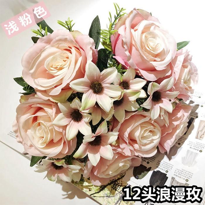 12头浪漫玫瑰花_仿真玫瑰花批发