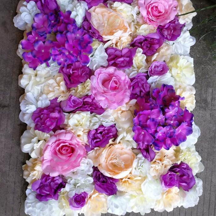 紫色大丽花混合花墙_婚礼背景墙_婚礼花墙布置图片