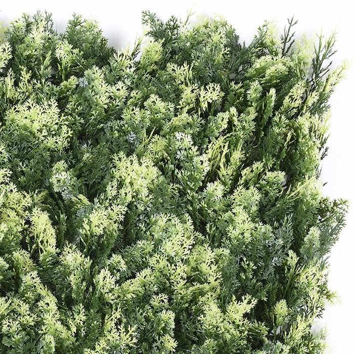 米白柏树叶植物墙价格_仿真草墙生产厂家