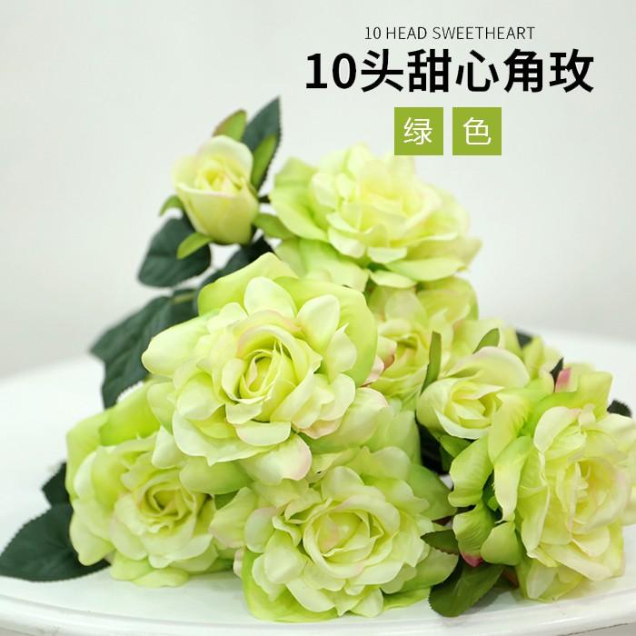 10头甜心角玫_假玫瑰花批发_ 假玫瑰花多少钱一朵